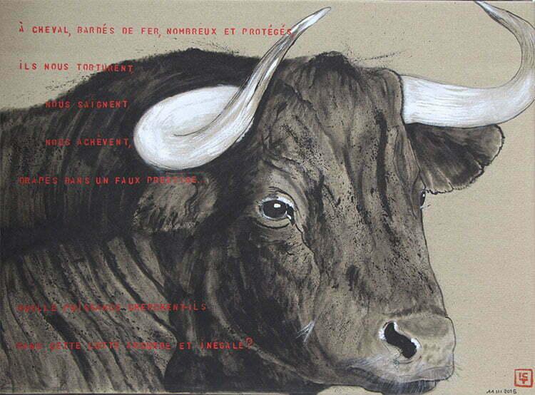 N°13 - 68x92cm - dessin encre de Chine sur toile, écriture acrylique - mars 2015 - 700 €.