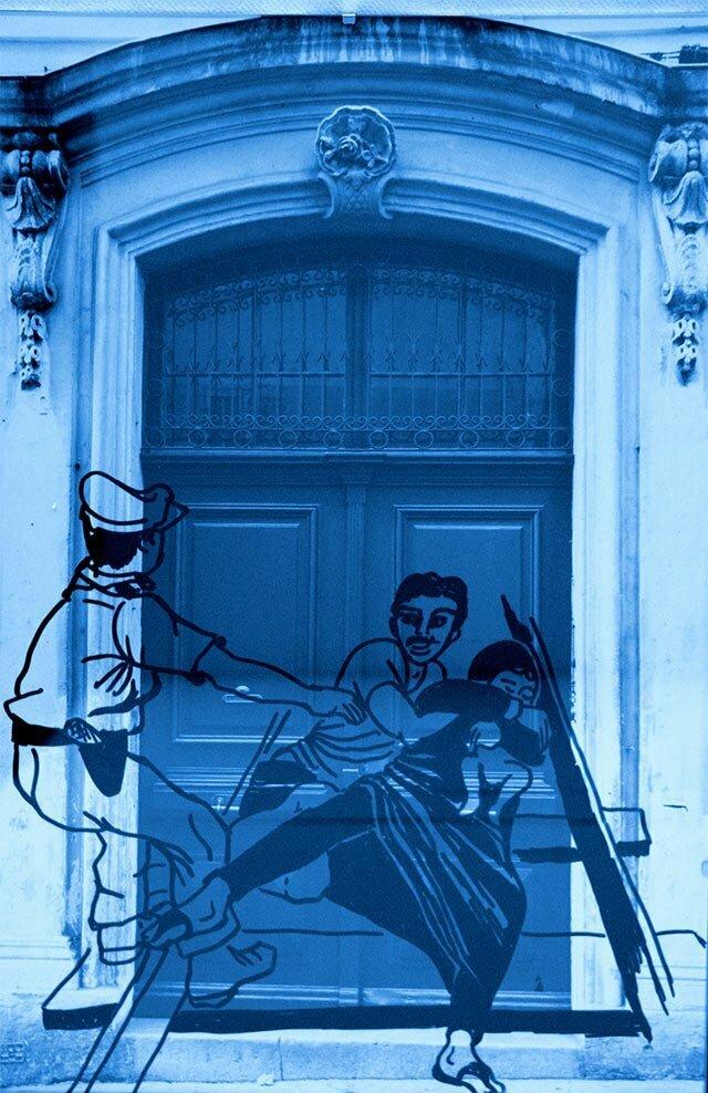 Sous-verre N°5 - technique : photo et dessin sur PVC - 30 X45 cm Prix : 50€.