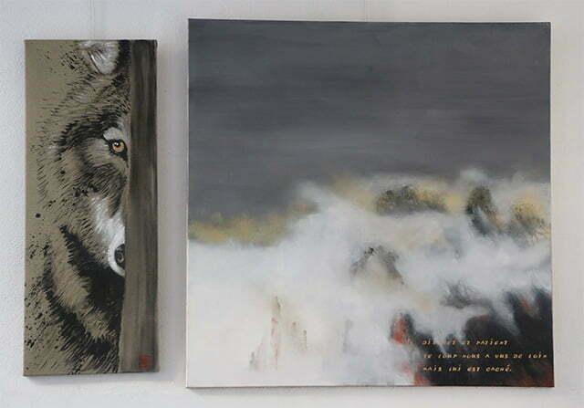 Le loup de France : 100 X 145 cm, 4 novembre 2017. Huile sur toile et dessin à l'encre de Chine, acrylique et or sur toile, 1000 €.