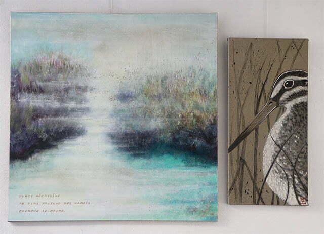 La Bécassine des marais : 100 X 148 cm, 22 février 2018. Huile et dessin à l'encre de Chine, sur toile, 1200 €.