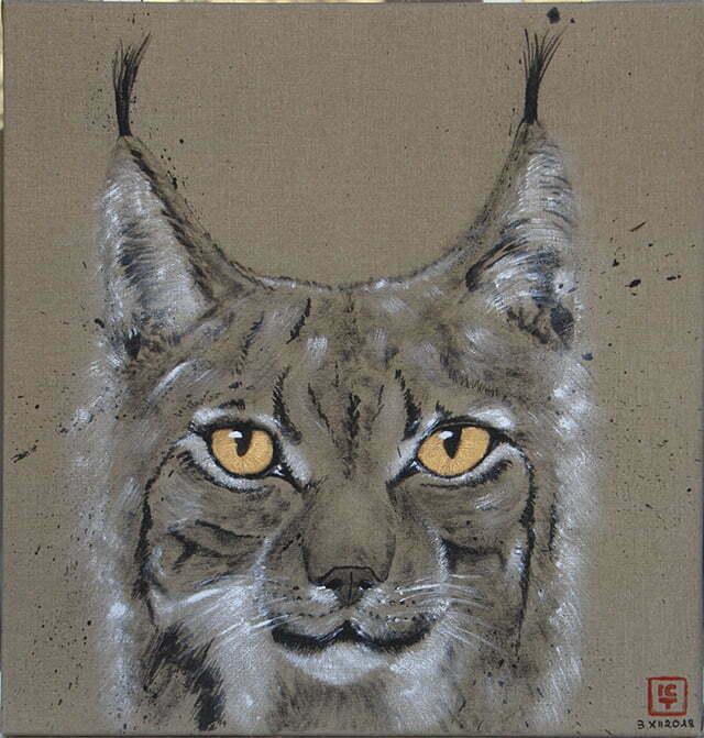 Dessin sur toile encre de chine, acrylique et or - Lynx mâle des Vosges abattu par braconnage…. 3 décembre 2018 – 55 X 57 cm : 500€