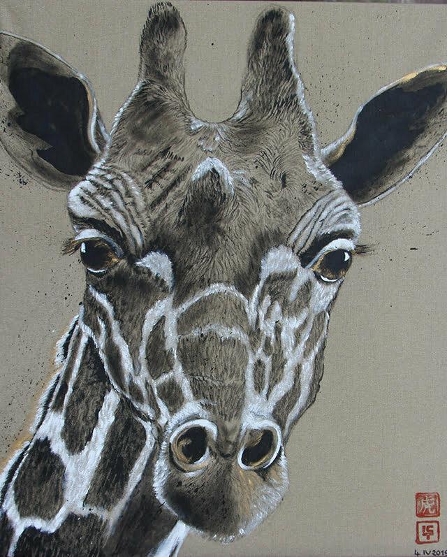 La petite girafe du zoo de la Palmyre - Encre de Chine , Acrylique et or sur toile - 60 X 73 cm - 500€
