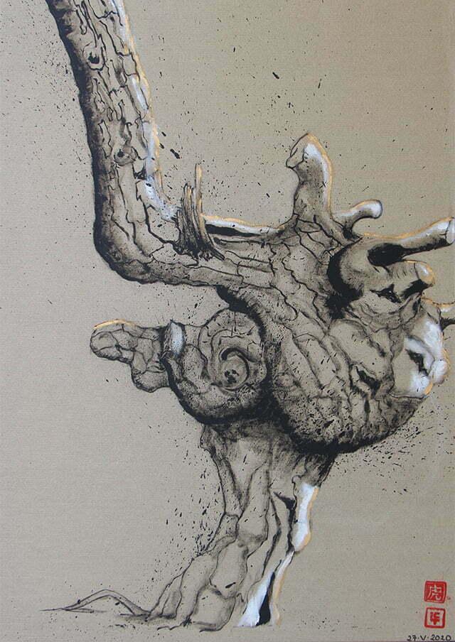 Dessin sur toile encre de chine, acrylique - No 7, 27 mai 2020, 72 X 100 cm : 700 €.
