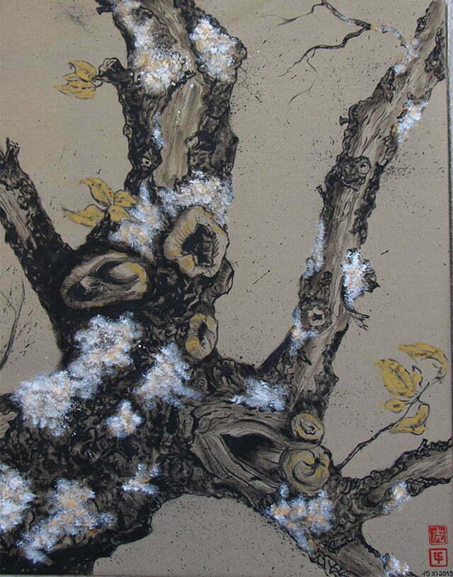 N° 17 —Le vieux pommier de Cours - 100 X 80 cm — Encre de Chine sur toile — 15 novembre 2019 — Prix 400 €.