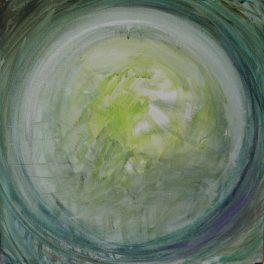 Sphère verte / Huile / L 50 x H 50