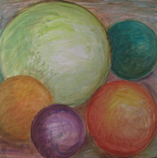 Sphères / Huile / L 80 x H 80