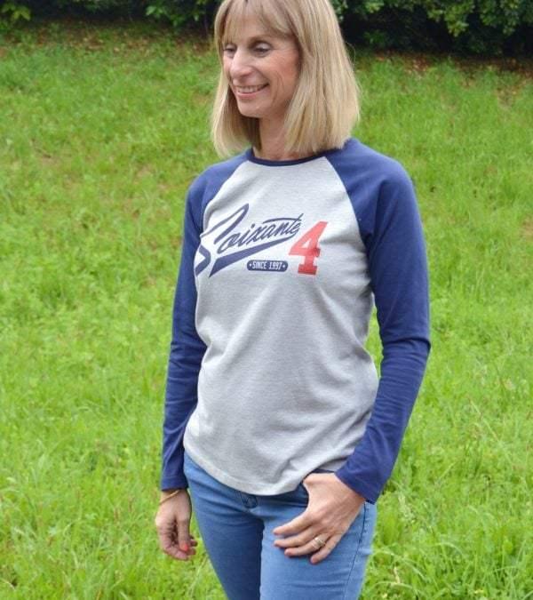 T-shirt 64 gris et bleu à manches longues