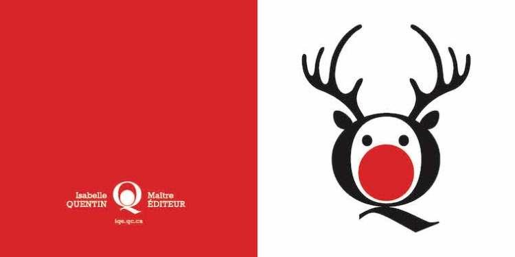 carte de Noel affichant un renne au enz rouge, dérivé du logo de l'entreprise