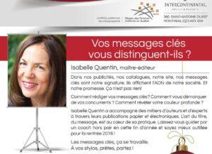 Isabelle Quentin au Réseau des Femmes d'Affaires du Québec centre-ville donne une formation sur les messages clés