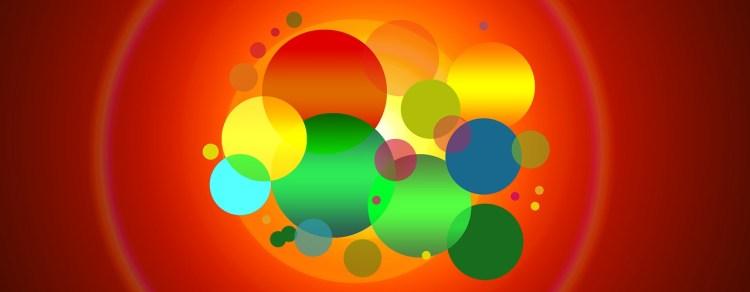 Représentée par des bulles de différentes tailles et couleurs, les entités de l'entreprise s'entremêlent pour illustrer la communication irradiante.