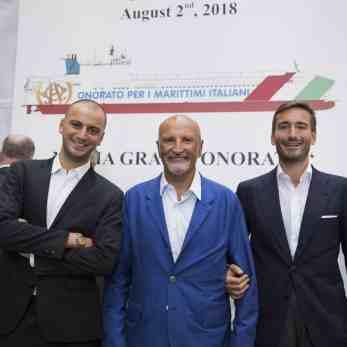 (Α-Δ): Οι κ.κ. Alessandro Onorato, Αντιπρόεδρος της Onorato Onorato Armatori S.p.A., Vincenzo Onorato, Πρόεδρος της Onorato Onorato Armatori S.p.A. και Achille Onorato, CEO της Onorato Armatori S.p.A.