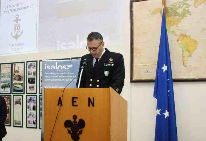 O Αντιπλοίαρχος Λ.Σ. Χρήστος Κουβάτσος, ∆ιοικητής της ΑΕΝ Κρήτης