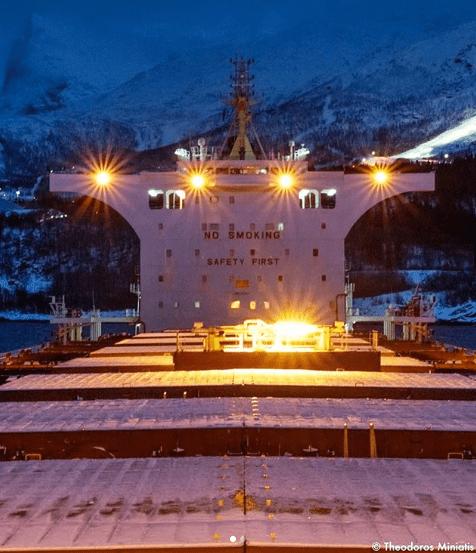 1. Frozen night in a Norwegian port. Credits to Theodoros Miniatis