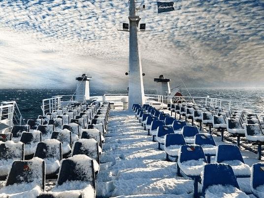 Piraeus to Aegina. Credits to Saronic Ferries