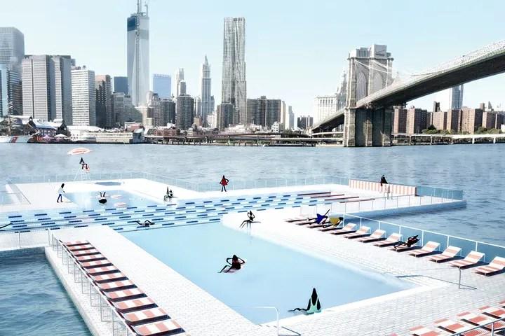 Studie für ein Flussbad in New York von Pluspool
