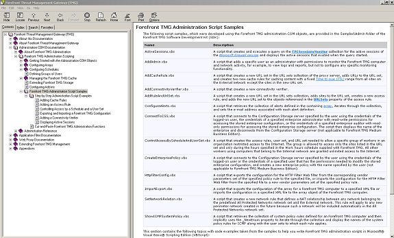 Figure 1: Forefront TMG SDK – Script examples