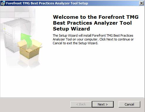 Figure 1: Installation of the Forefront TMG Best Practice Analyzer Tool