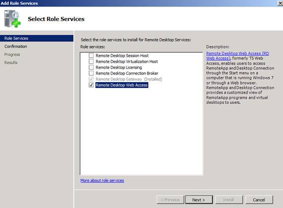 Figure 1: Install Remote Desktop role service