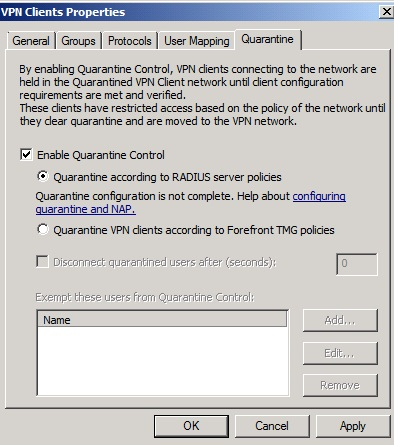 Figure 4: Enable VPN Quarantine Control