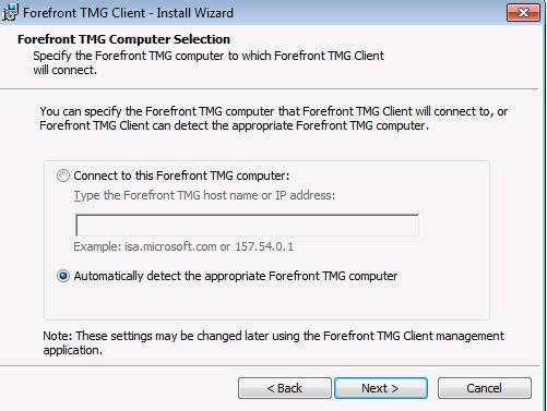 Figure 4: TMG client computer selection