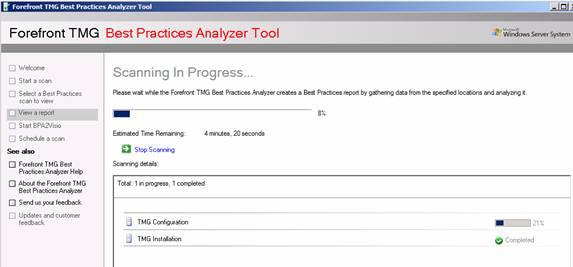 Figure 8: TMG BPA starts scanning the TMG configuration