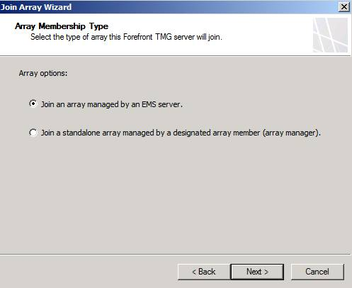 Figure 9: Join an array managed by an EMS Server