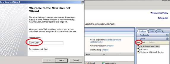 Figure 9: Create LDAP User sets