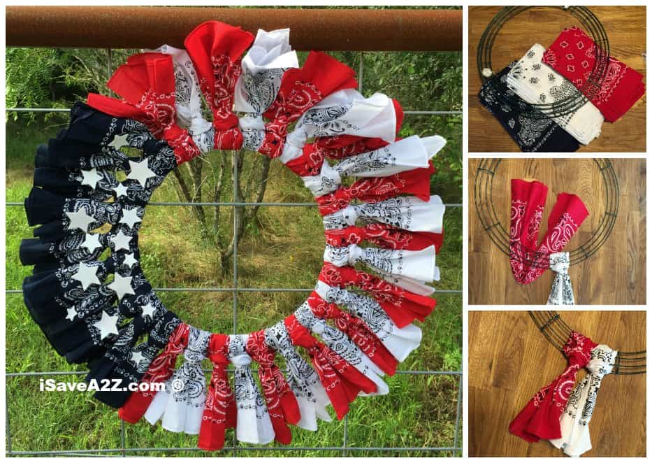 Red White And Blue Bandana Flag Wreath Craft Idea