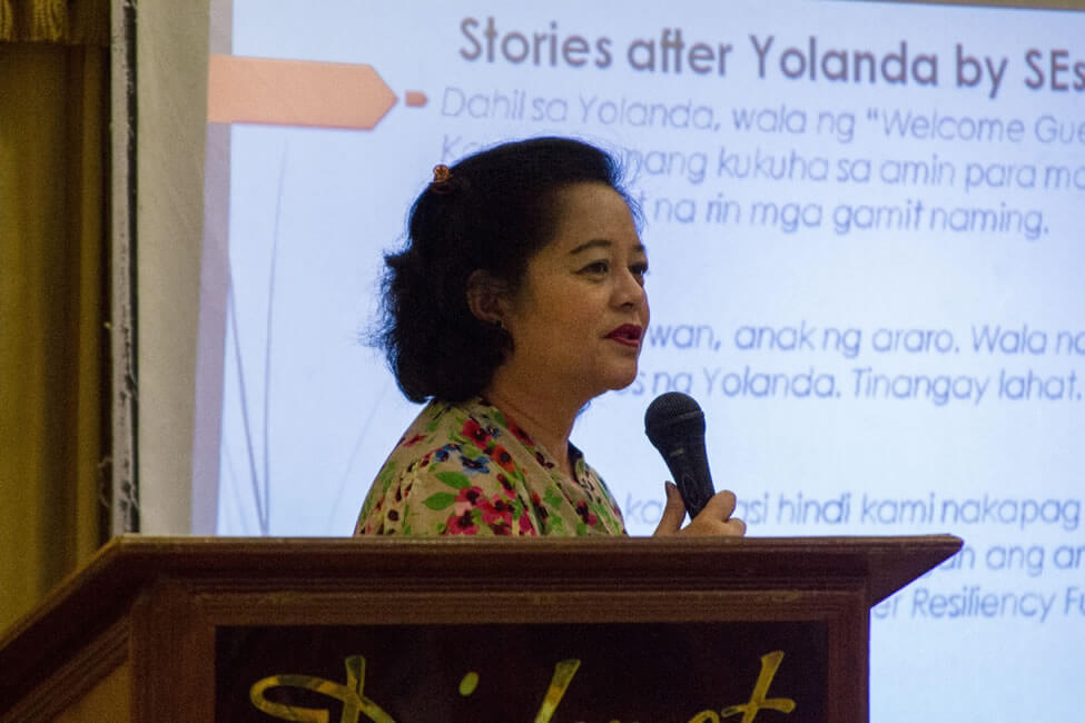 Prof. Marieta Sumagaysay, ISEA Research Associate, presents highlights from the Provincial Action Research and Consultation processes conducted in Leyte.