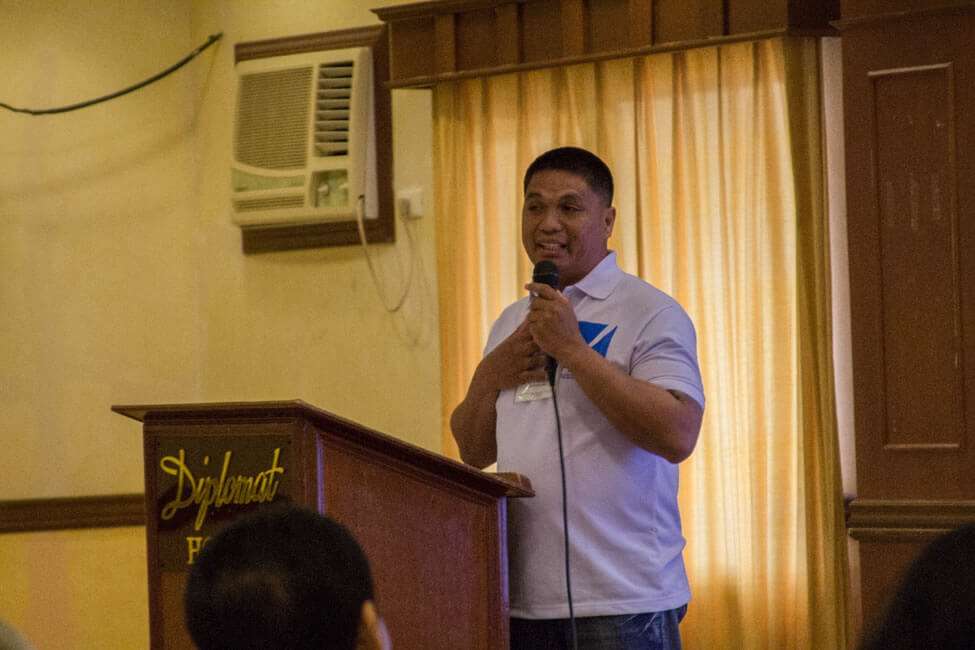 "Mr. June Pacifico of the Damgo sa Kaugmanon in Northern Cebu presents their ""Back to Sea Project"", which combines organizing fishers with the rehabilitation of fishing, fishery resources and ecotourism in 16 coastal barangays as their RISE Evolving Initiative."