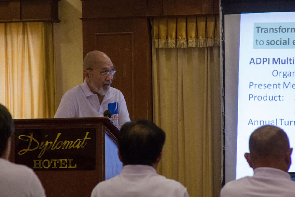 Mr. Luis Arches Posa, Regional Manager of Association of Differently Abled Persons Iloilo Multi-Purpose Cooperative (ADPI-MPC) make a joint presentation of their RISE Evolving Initiatives towards Building and Strengthening Community Social Enterprise with Focus on Persons With Disability.  Their Shelter, Habitat and Enterprise Development (SHED) pilot project in Leyte shall engage 3,500 persons with disability and other marginalized people in  cooperatives manufacturing pre-fabricated housing materials, school chairs and educational toys.