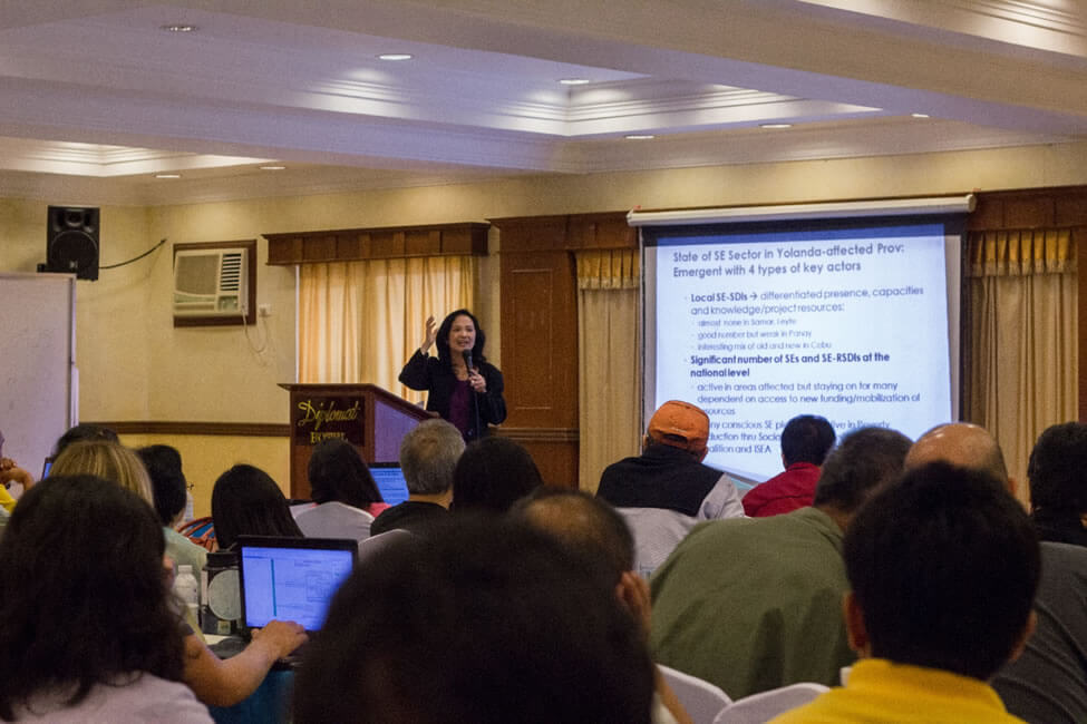 Dr. Marie Lisa Dacanay, President of Institute for Social Entrepreneurship in Asia, presents a synthesis of the results of the APPRAISE RAY Project focusing on the Reconstruction Initiative through Social Enterprise (RISE) as a platform.