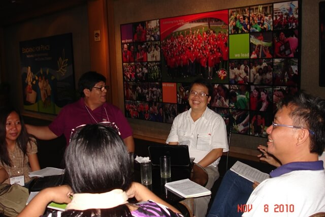 Alter Trade Corporation President Earl Parreno and Foundation Executive Director Edwin Lopez (center) lead their organizational workshop to apply tools learned to refine the strategic planning process of Alter Trade Group.