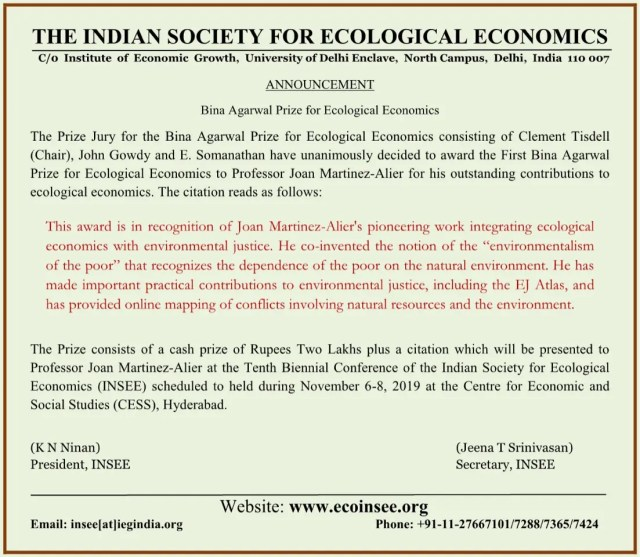 Professor Joan Martinez-Alier is Winner of the First Bina Agarwal Prize for Ecological Economics