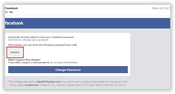 find facebook password