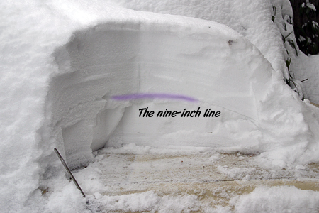 Two big snowfalls divided by a layer of ice.