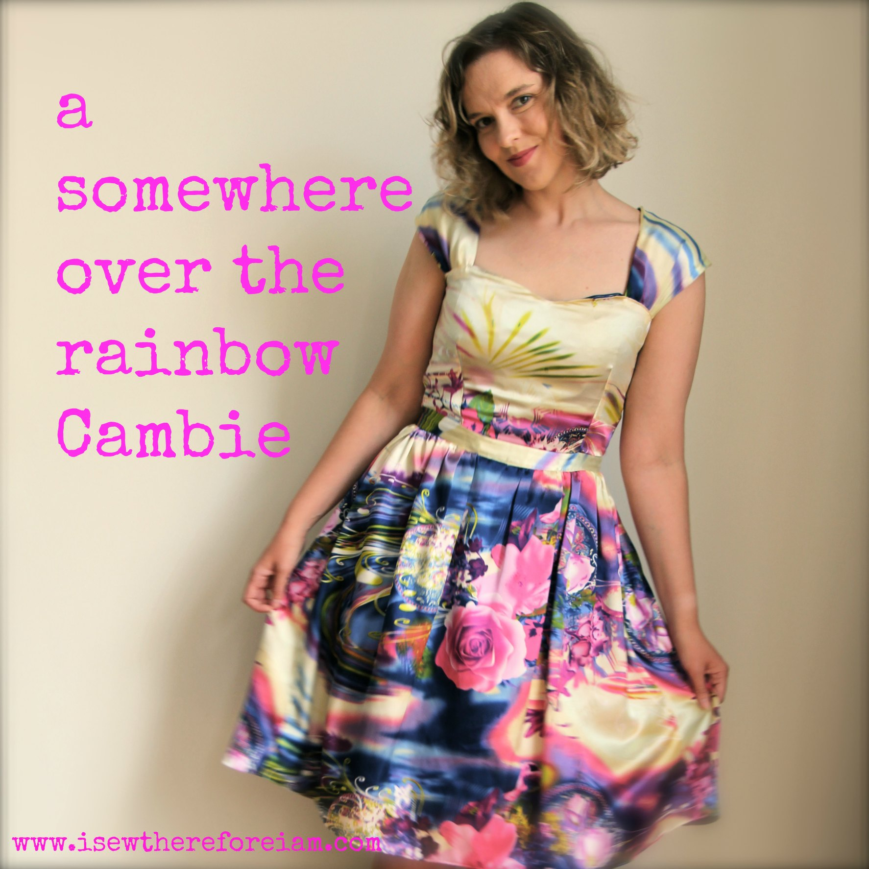 A Sewaholic Cambie dress with gathered skirt made out of brightly coloured silk