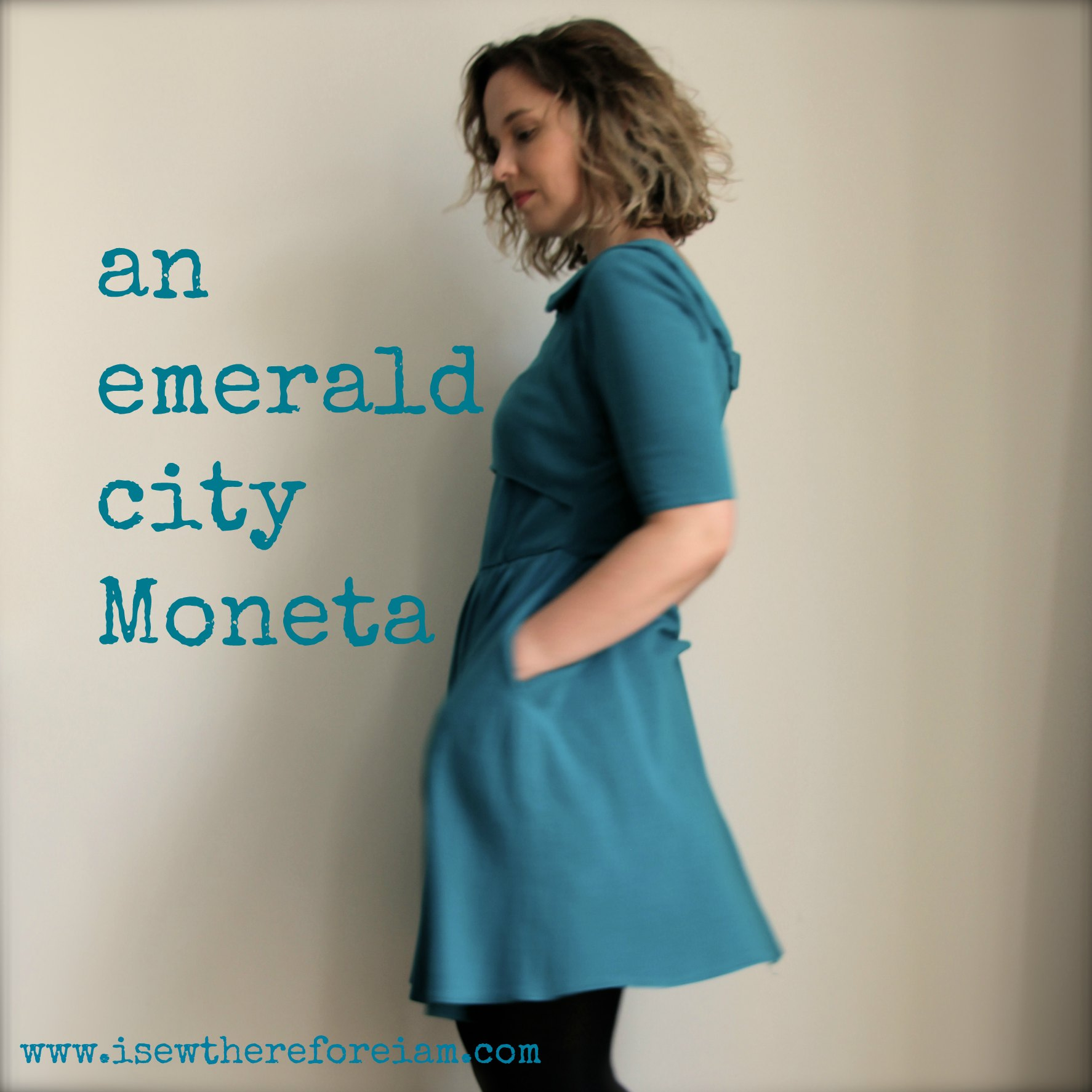 A Colette Moneta knit dress in teal jersey, with a nursing hack