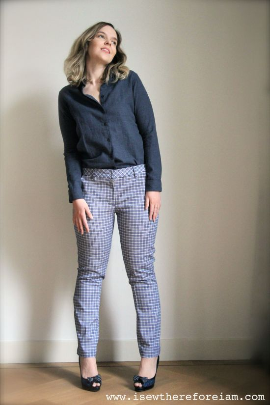 Sasha Trousers by Closet Case Patterns in stretch cotton plaid