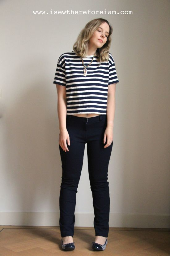 Sasha trousers by Closet Case Patterns in navy ponte di roma knit