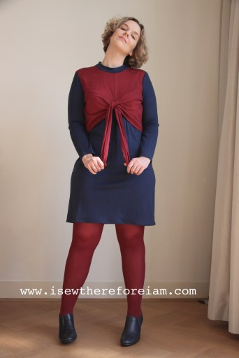 Ruska Knot Dress from Breaking the Pattern in merino jersey from The Fabric Store