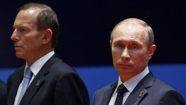 """Tony Abbott and Vladimir Putin: decidedly and deliberately insulting behaviour from both ""leaders"" towards each other's peoples."" Photo: Reuters"