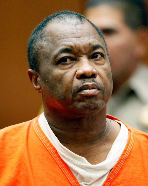 "FILE - In this Aug. 23, 2010, file photo, Lonnie Franklin Jr. appears for his arraignment on multiple charges as the ""Grim Sleeper"" killer, in Los Angeles Superior Court. Relatives of victims will urge a Los Angeles Superior Court judge Friday, Feb. 6, 2015, to set a trial date for Franklin, who is charged with 10 counts of murder, and has been dubbed the ""Grim Sleeper"" serial killer. Prosecutors are citing Marsy's Law, a voter-approved victim's bill of right, to argue that the right to a speedy trial, guaranteed for defendants, also extends to family members of the victims. (AP Pool/Nick Ut, File)"