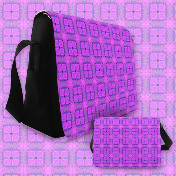 Abstract Dancing Diamonds Purple Violet | Messenger Bag
