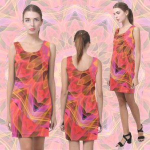 Modern Abstract Peach Violet Mandala Ribbon Candy Lace | Sleeveless Short Dress