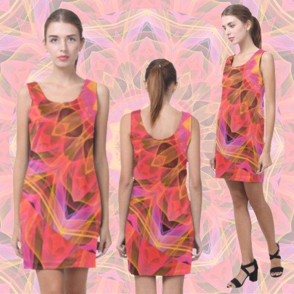 Modern Abstract Peach Violet Mandala Ribbon Candy Lace | Sleeveless Short Dress
