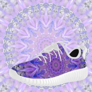 Abstract Plum Ice Crystal Palace Lattice Lace Grus Women's Breatheable Woven Running Shoes (Model 022)