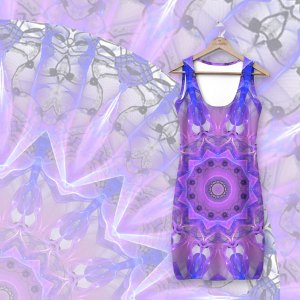 Abstract Plum Ice Crystal Palace Lattice Lace Mandala | Simple Dress