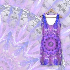 Abstract Plum Ice Crystal Palace Lattice Lace Mandala | Simple Dress