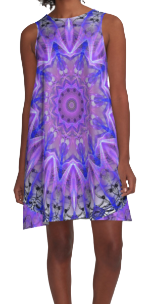 Abstract Plum Ice Crystal Palace Lattice Lace | A-Line Dress